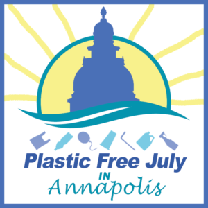 plastic free july in annapolis logo