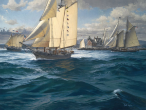 painting of boats by Neal Hughes