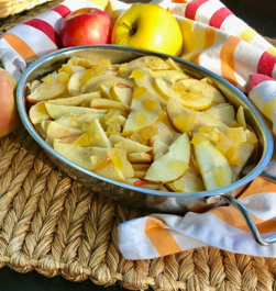 apple slices in dish