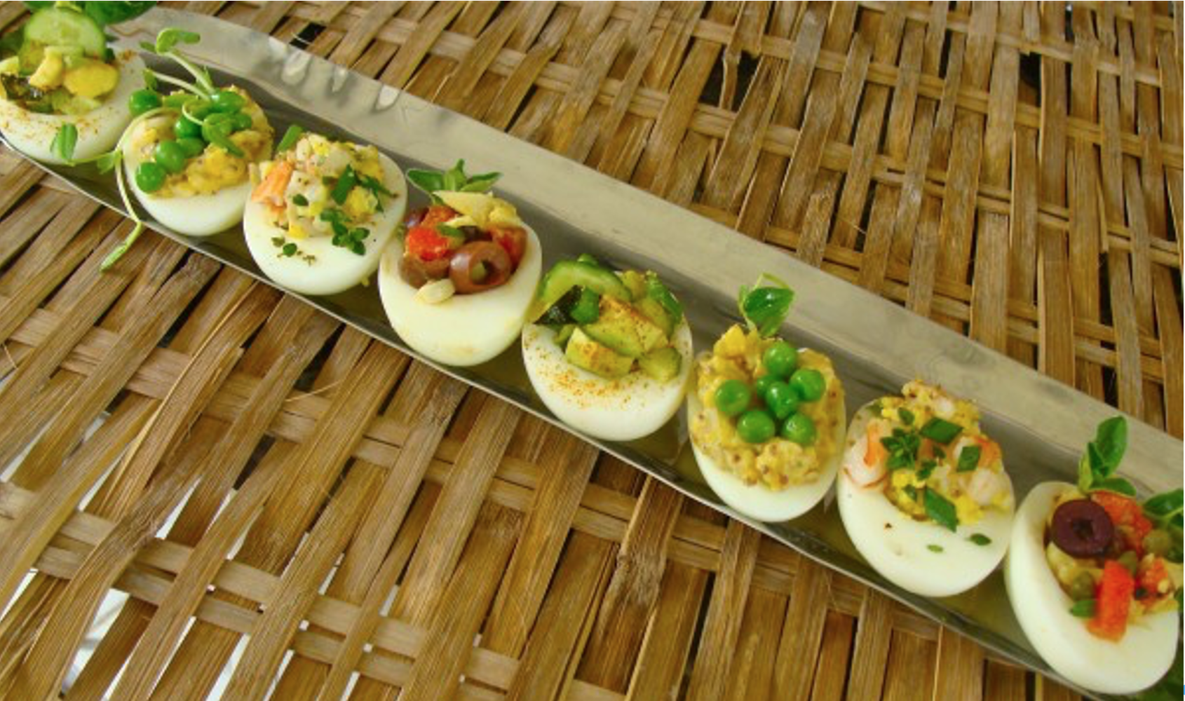 line of deviled eggs