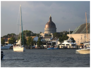 annapolis harbor on an electric boat