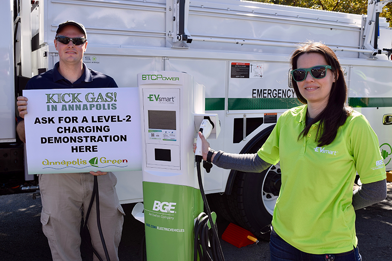 BGE brought a demonstration Level 2 charger to Annapolis NDEW Kick Gas EV Showcase Sept 2021