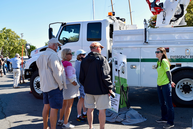 BGE brought its bucket truck with electric mechanism to the Annapolis NDEW Kick Gas EV Showcase Sept 2021