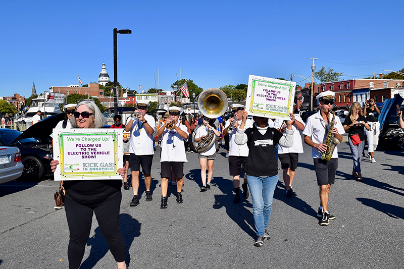 Naptown Brass Band leads a Second LIne parade to the Annapolis NDEW Kick Gas EV Showcase Sept 2021