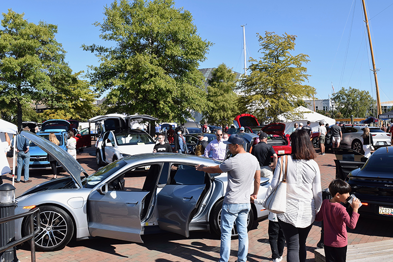 People check out Electric Vehicles at Annapolis NDEW Kick Gas EV Showcase Sept 2021